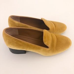 Chloe Shoes - Chloé Kingsley Velvet Loafers, Yellow (US 8.5)